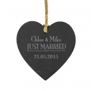 Personalised Just Married Slate Heart