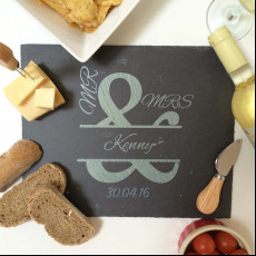 Personalised Mr & Mrs Ampersand Slate Cheese Board