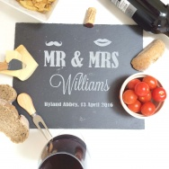 Personalised Mr & Mrs Moustache & Lips Cheese Board