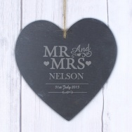 Personalised Mr And Mrs Wedding Slate Heart