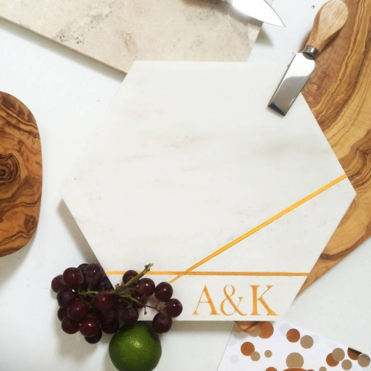 Personalised Marble Hexagonal Cheese Board