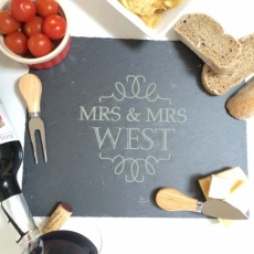 Personalised Mrs and Mrs Slate Cheese Board