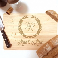 Personalised Chopping Board Wreath Design