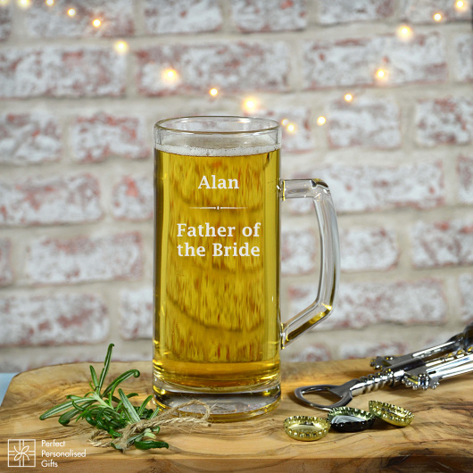 Personalised Father of the Bride Beer Tankard