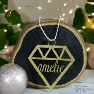 Personalised Geometric Christmas Bauble - Gold