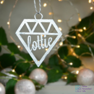 Personalised Geometric Christmas Bauble - Silver