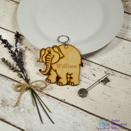 Personalised Elephant Animal Keyring