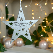 Personalised Silver Star Bauble