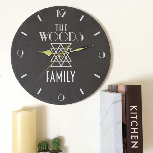 Personalised Family Slate Clock