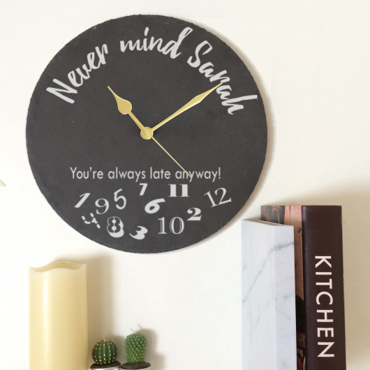 Personalised Always Late Slate Clock