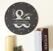 Personalised Mr & Mrs Ampersand Slate Clock