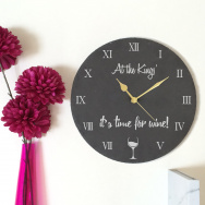 Time For Wine Slate Clock