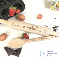 Personalised Scrumptious Rolling Pin & Wooden Spoon Set