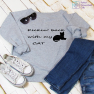 Personalised Kickin' Back With My Cat Sweatshirt