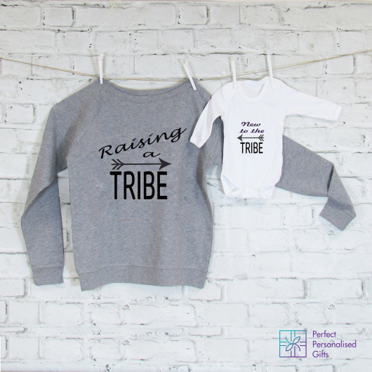 Personalised Raising a Tribe Mum & Baby Set