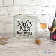 Personalised Mr & Mrs Wedding LED Glass Block
