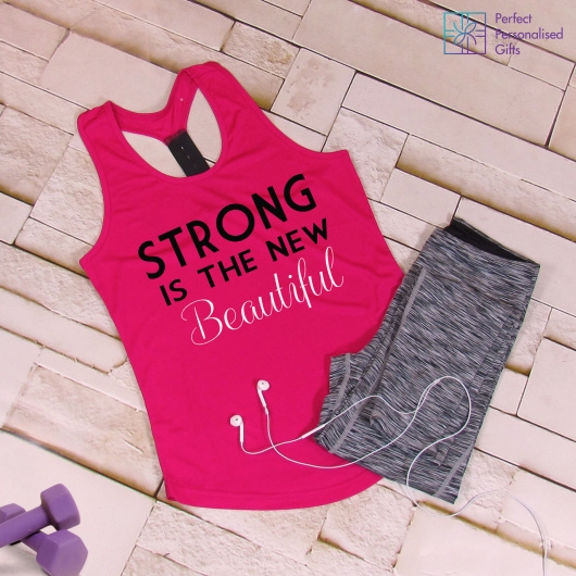 Personalised Gym Strong Is The New Beautiful TriDri Racerback Vest