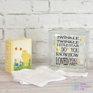 Personalised Twinkle Twinkle New Baby LED Glass Block