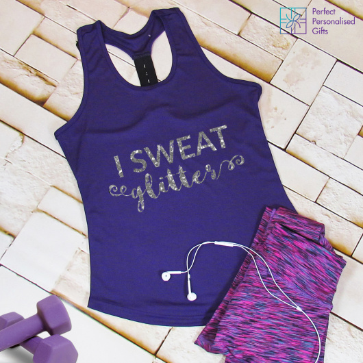 Personalised Sweat Glitter Gym TriDri Racerback Vest