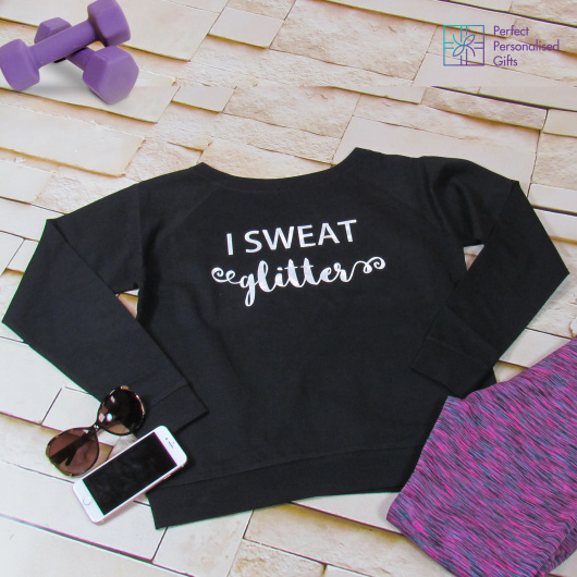 Personalised I Sweat Glitter Slouch Fit Sweatshirt