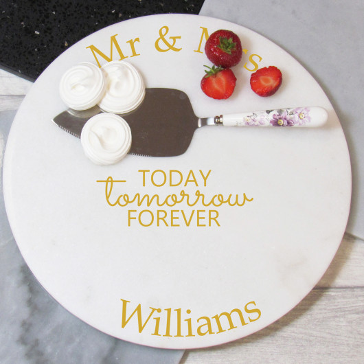 Personalised Round Marble Wedding Cake Plate