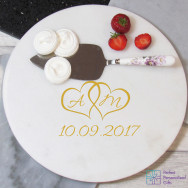 Personalised Hearts Round Marble Board