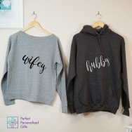 Personalised Wifey And Hubby Sweatshirt And Hoodie Set