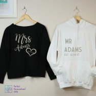 Personalised Mr And Mrs Sweatshirt And Hoodie Set