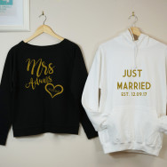 Just Married His And Hers Hoodie Set