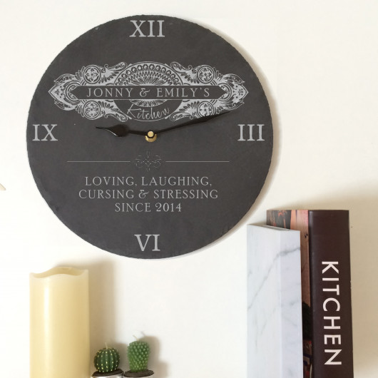 Personalised Slate Kitchen Clock Intricate Swirl Design