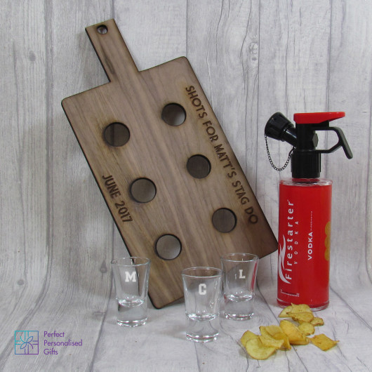 Personalised Shot Paddle Board & Shot Glasses