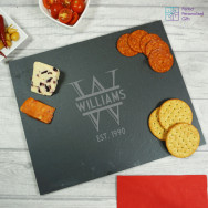 Personalised Monogrammed Family Slate Cheeseboard