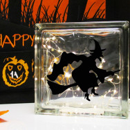 Personalised Halloween LED Glass Block Light