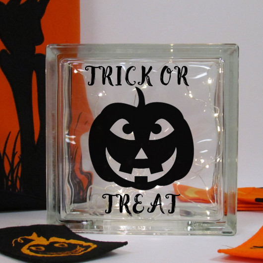 Personalised Halloween Pumpkin LED Glass Block
