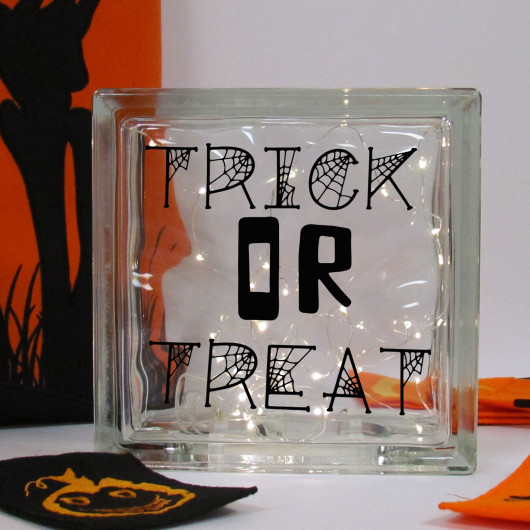 Personalised Halloween Trick or Treat LED Glass Block