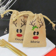 Personalised Christmas Place Name Reindeer Jute Bags