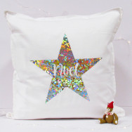 Personalised Noel Christmas Star Cushion