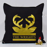 Personalised Stag Antler Christmas Cushion