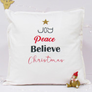 Personalised Joy Peace Believe Christmas Cushion