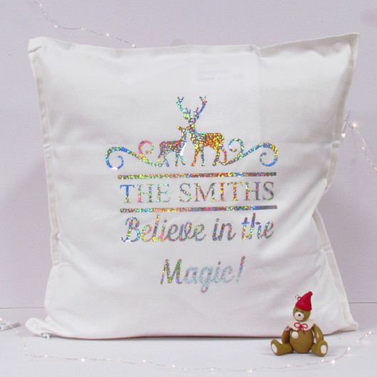 Personalised Christmas Believe In The Magic Family Cushion