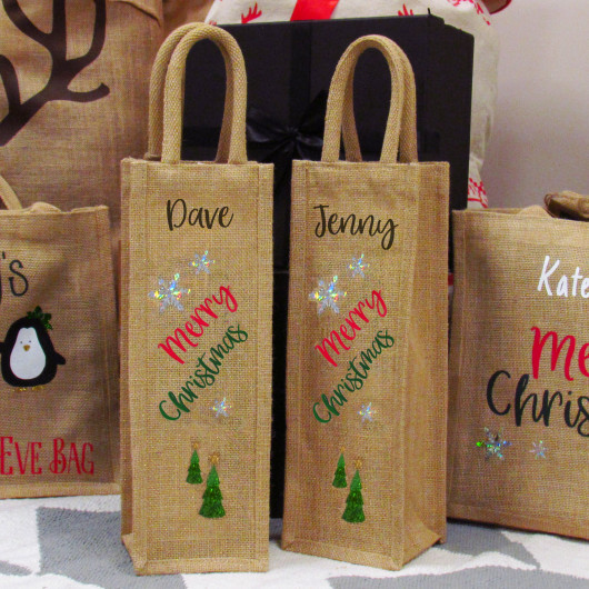 Personalised Merry Christmas Wine Gift Bag