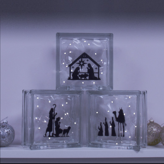 Personalised Nativity Scene Christmas Glass LED Blocks