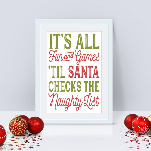 Personalised Naughty List Christmas Print
