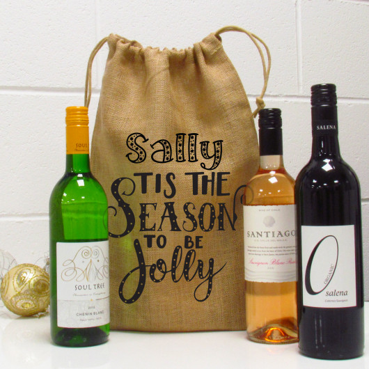 Personalised Tis The Season To Be Jolly Christmas Wine Gift Bag