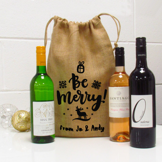 Personalised Be Merry Personalised Christmas Jute Wine Gift Bag