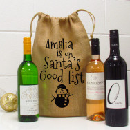Personalised Santa's Good List Wine Bottle Gift Bag