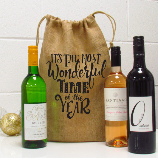 Personalised The Most Wonderful Time Of The Year Wine Gift Bag
