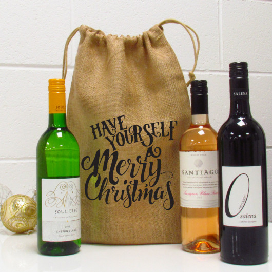 Personalised Have Yourself A Merry Christmas Wine Bottle Gift Bag