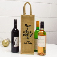 Personalised Be Merry Single Jute Christmas Wine Gift Bag