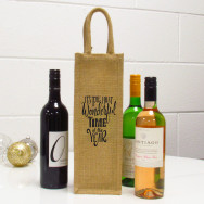 Personalised The Most Wonderful Time Of The Year Single Wine Bag